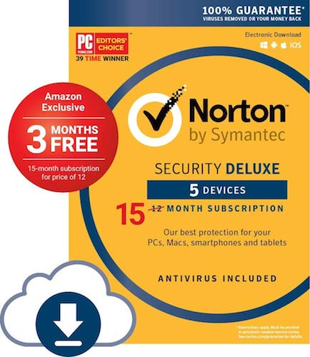 Norton Security Deluxe - 5 Device 15 months Amazon Exclusive Deal