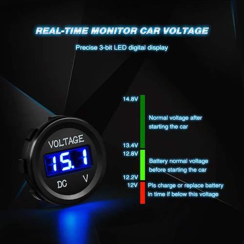 Nilight LED Digital Display Voltmeter Panel Overview